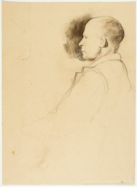 An image of recto: Portrait of a man (George Lawrence) verso: Portrait studies of two men (George Lawrence or William Pidgeon) by Lloyd Rees