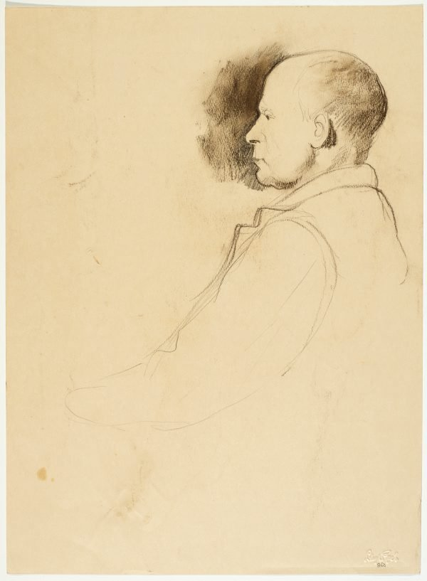 An image of recto: Portrait of a man (George Lawrence) verso: Portrait studies of two men (George Lawrence or William Pidgeon)