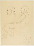 Alternate image of recto: Portrait of a man (George Lawrence) verso: Portrait studies of two men (George Lawrence or William Pidgeon) by Lloyd Rees