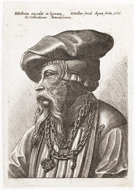 An image of Bearded man wearing a linked chain by Wenceslaus Hollar, after Hans Holbein