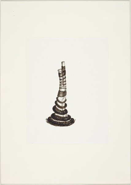 An image of (Forked tree form, ringed and tied together) by Ross Mellick