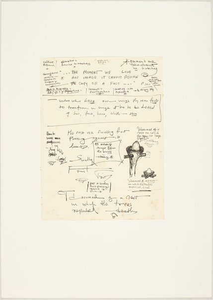 An image of I dreamed of a nest in which the trees repulsed death (a sheet of notes & two drawings of a nest form) by Ross Mellick