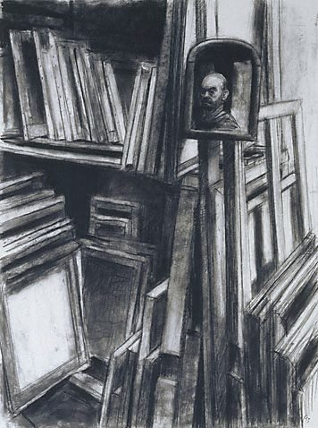 An image of Self portrait with paintings