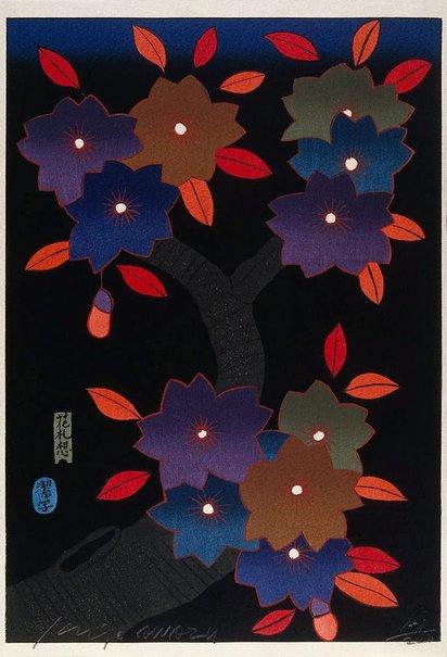 An image of March - flowering cherry by Awazu Kiyoshi