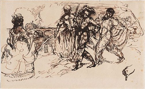 An image of Lady and harlequin by Charles Conder