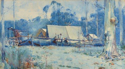 An image of Surveyor's camp by Arthur Streeton