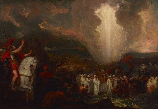 An image of Joshua passing the River Jordan with the ark of the covenant by Benjamin West