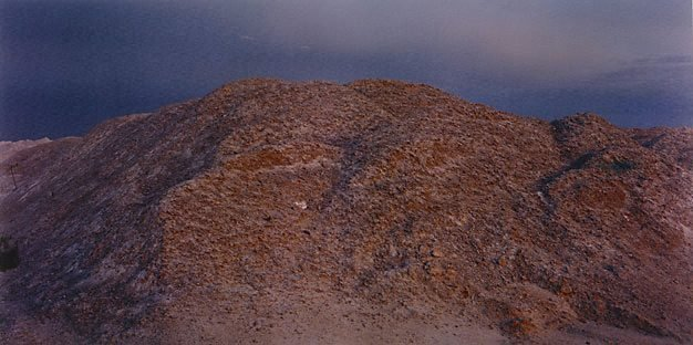 An image of Gypsum pile at old mine site (evening flash)