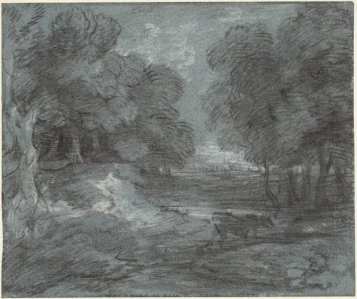 An image of A wooded landscape with a horse by Thomas Gainsborough