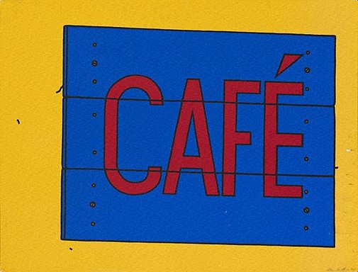 An image of Cafe sign by Patrick Caulfield