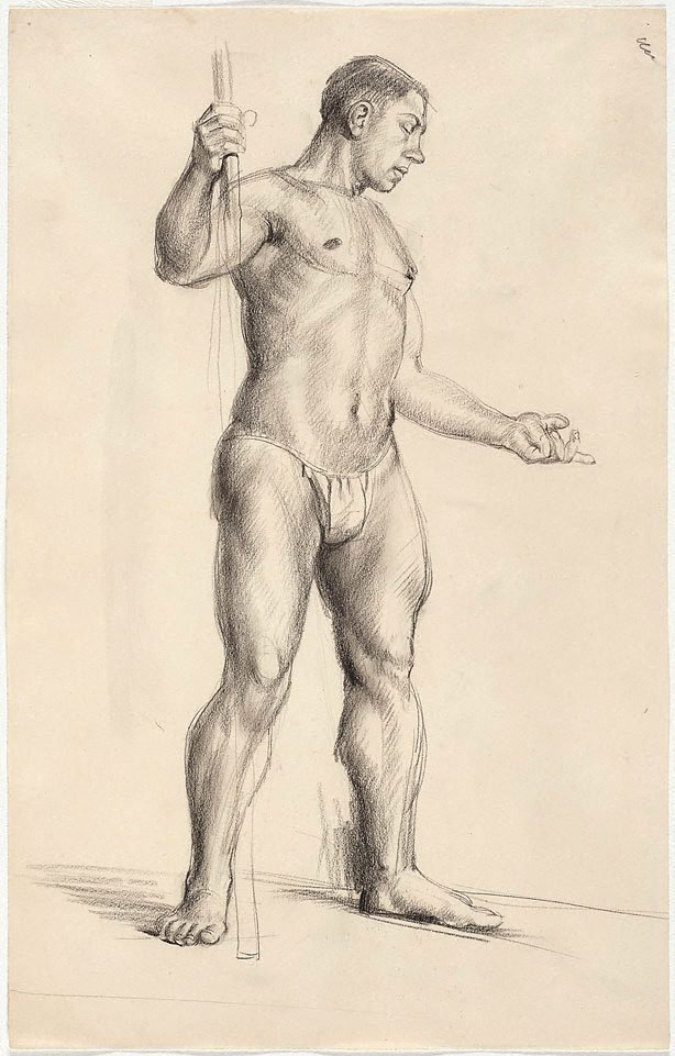 An image of Standing male nude holding a vertical bar, London