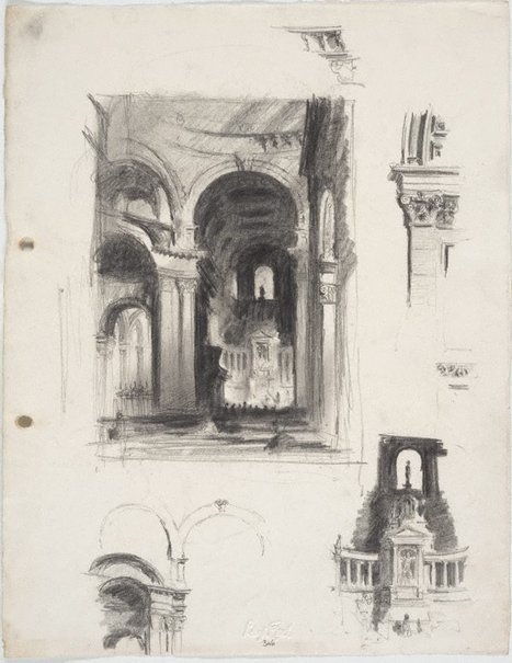 An image of Studies of interior of St Paul's Cathedral, London - under the dome and architectural details by Lloyd Rees