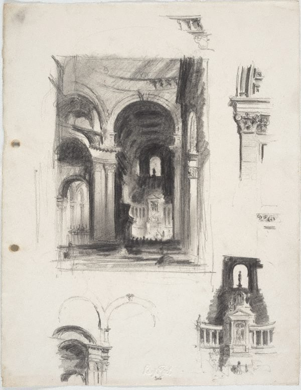 An image of Studies of interior of St Paul's Cathedral, London - under the dome and architectural details