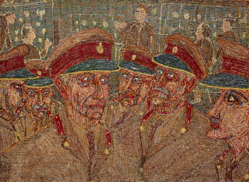 An image of Untitled, Soldiers (The unenlightened or Limp blimps) by Richard Larter