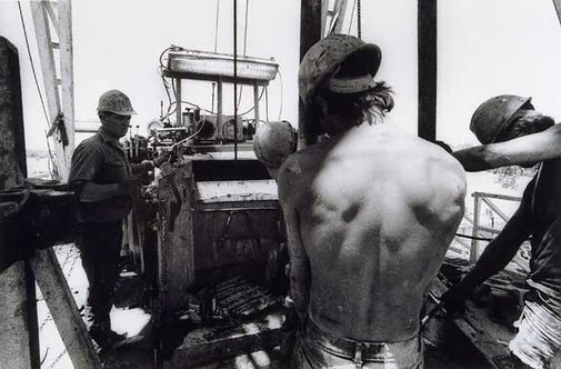 An image of Roughnecks, drill rig floor, Jackson Oil Field, Queensland by Philip Quirk