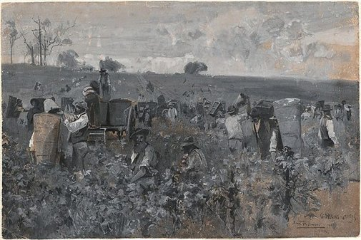 An image of Gathering grapes by A Henry Fullwood
