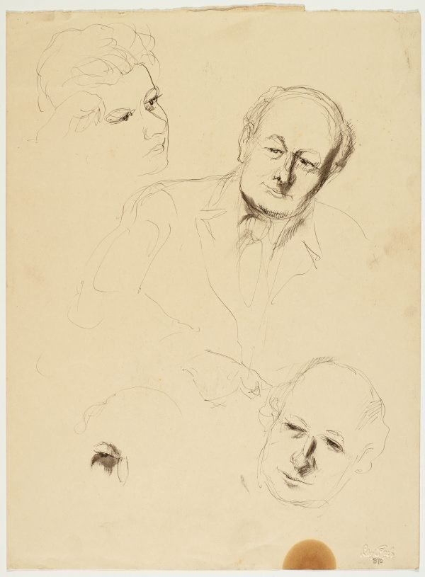 An image of recto: Portraits of Roland Wakelin and Studyof a man verso: Portrait studies of ?John Santry