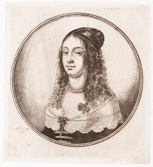 An image of (Circular portrait: young woman with a pearl necklace) by Wenceslaus Hollar, after Hans Holbein