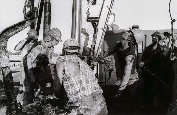 An image of Roughnecks, drill rig floor, Jackson Oil Field, Queensland