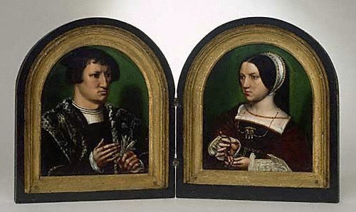 An image of Portraits of Cornelius Duplicius de Scheppere and his wife Elizabeth Donche by Ambrosius Benson