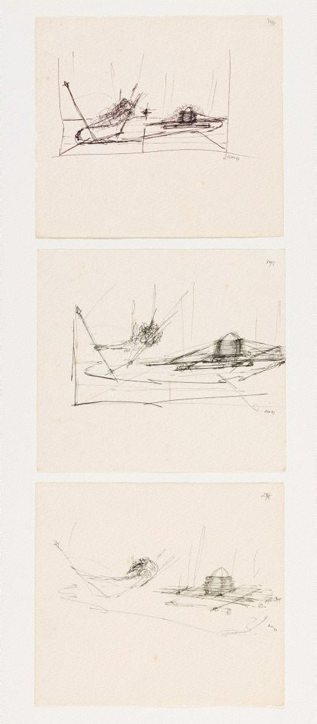 An image of (Three studies for Bird boat, egg raft)