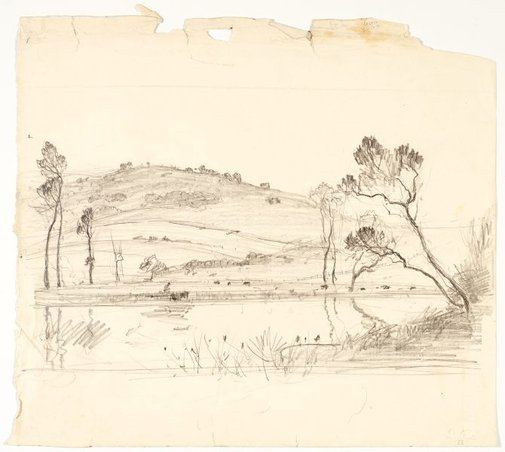 An image of recto: River landscape (Werri) verso:Two tree studies by Lloyd Rees