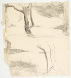 Alternate image of recto: River landscape (Werri) verso:Two tree studies by Lloyd Rees