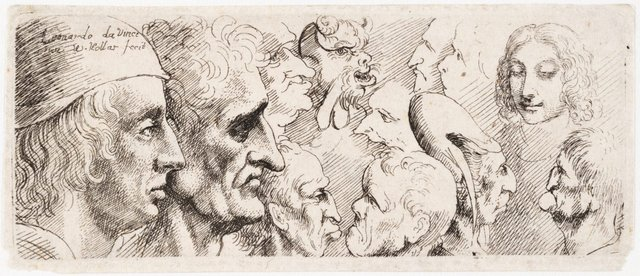 An image of Twelve heads and caricatures