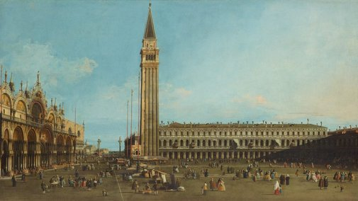 An image of The Piazza San Marco, Venice by Canaletto