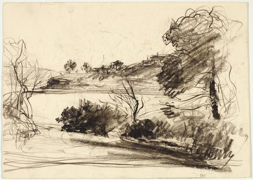 An image of recto: River view verso: Eucalypt trunks by Lloyd Rees