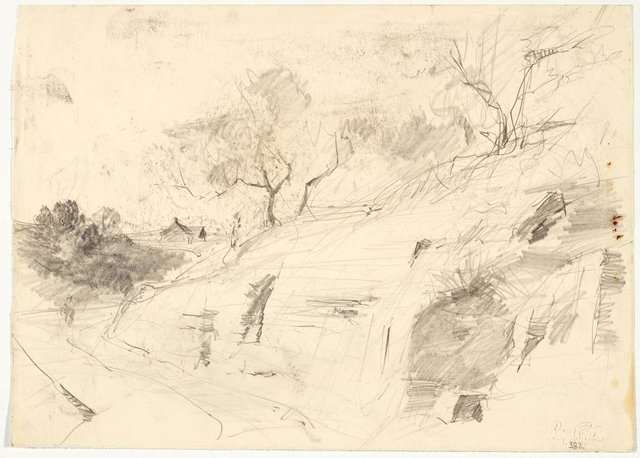 An image of recto: Rocky hillside and pathway verso: Sketch of landscape with fence