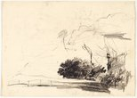 Alternate image of recto: Rocky hillside and pathway verso: Sketch of landscape with fence by Lloyd Rees