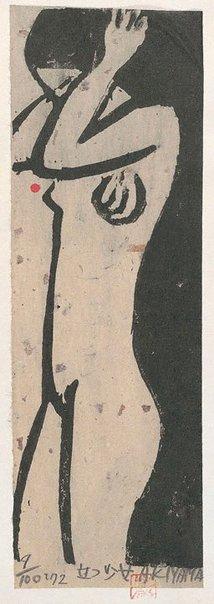 An image of Standing girl by Akiyama Iwao