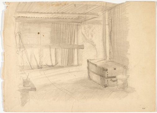 An image of recto: Shed interior with trunk verso: Standing female nude by Lloyd Rees