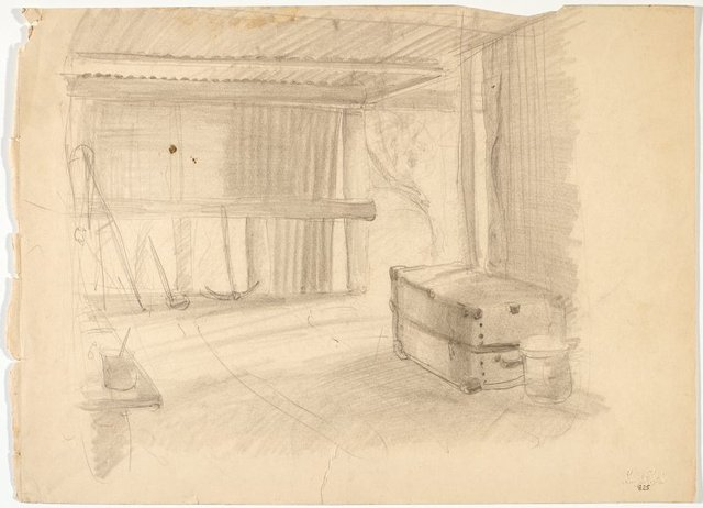 An image of recto: Shed interior with trunk verso: Standing female nude