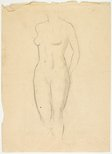 Alternate image of recto: Shed interior with trunk verso: Standing female nude by Lloyd Rees