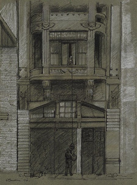 An image of The green house, Pera, Istanbul (Study for 'Façade') by Earle Backen