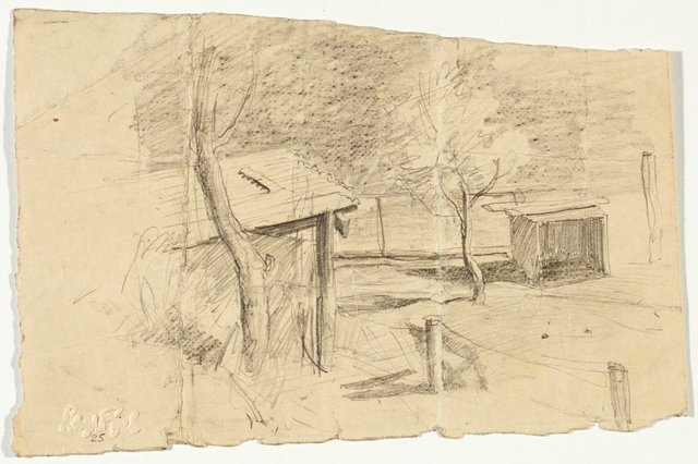 An image of recto: Sheds verso: Country sketch