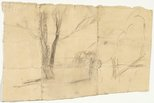 Alternate image of recto: Sheds verso: Country sketch by Lloyd Rees