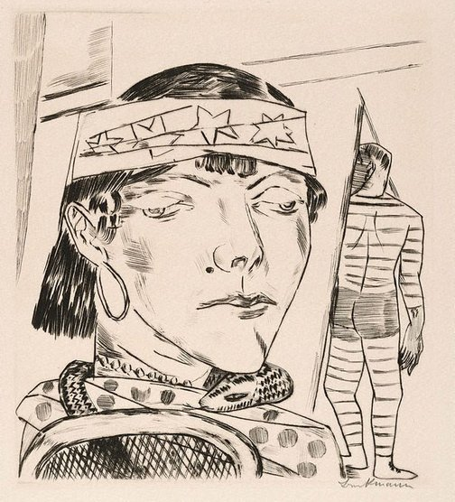 An image of The snake woman by Max Beckmann