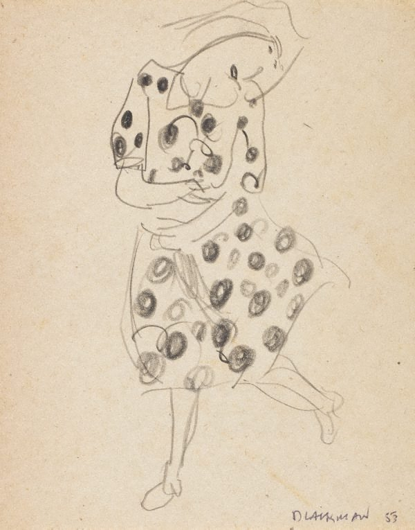 An image of (Woman in spotted dress)