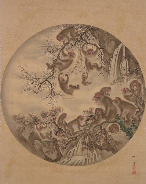 An image of Monkey troop by Mori Sosen