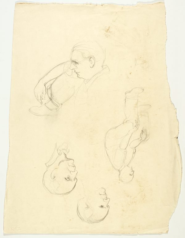 An image of recto: Sheet of male portraits (George Lawrence and one other) verso: Head of a man, two men and two studies of a left arm