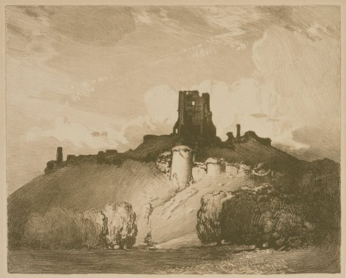 An image of Corfe castle by Arthur Streeton