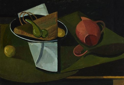 An image of Still life with gourd by Earle Backen