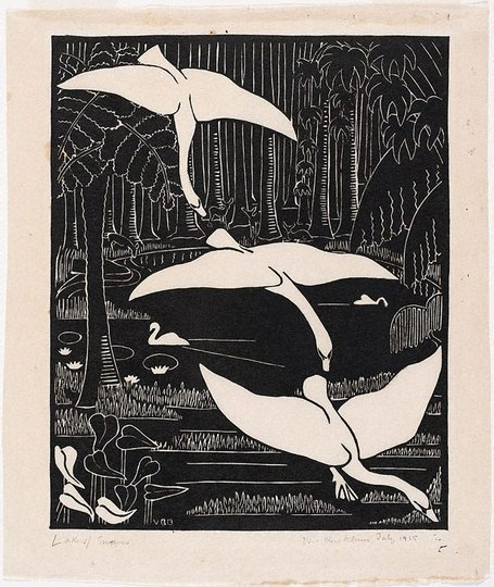 AGNSW collection Vera Blackburn Lake of swans 1935