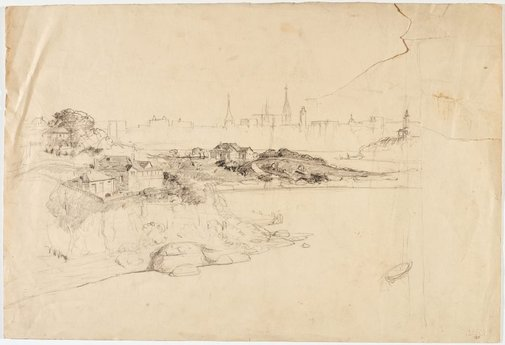 An image of recto: Sydney from the north shore verso: Sitting male nude, Head and hand by Lloyd Rees