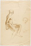 Alternate image of recto: Sydney from the north shore verso: Sitting male nude, Head and hand by Lloyd Rees