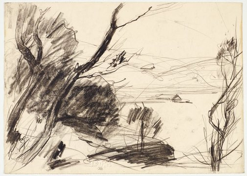 An image of recto: Trees and river verso: Two studies of the river by Lloyd Rees