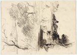 Alternate image of recto: Trees and river verso: Two studies of the river by Lloyd Rees